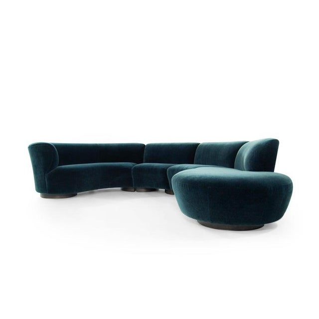 Vladimir Kagan for Directional Sectional in Teal Mohair, Circa 1970s For Sale In New York - Image 6 of 12