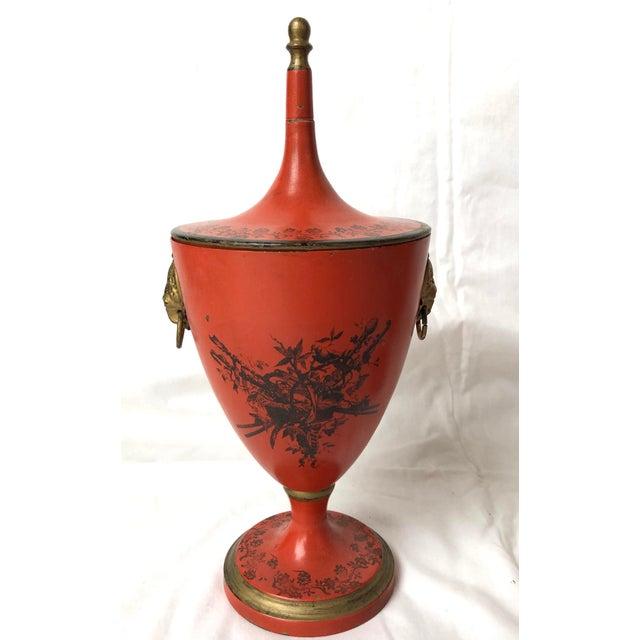 Italian Vintage, C.1950 Red Tole Lidded Urns, A-Set For Sale - Image 4 of 13