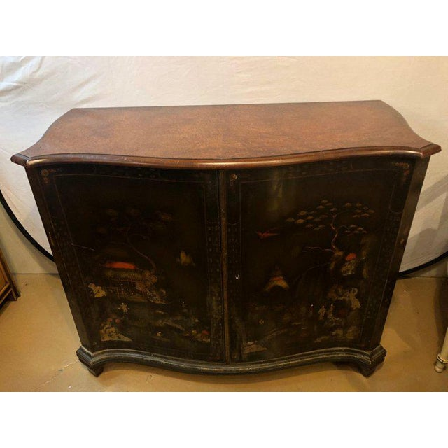 Asian Fine Custom Quality Ebony Chinoiserie Commode or Cabinet Server For Sale - Image 3 of 13