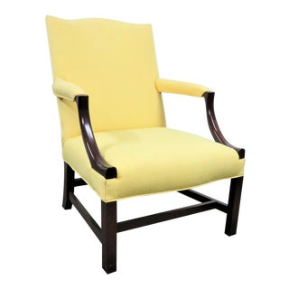 1940s Chippendale Yellow Upholstered Mahogany Library Chair For Sale