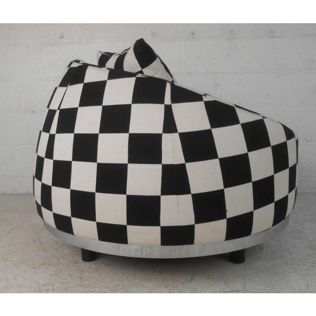 Contemporary Checkered Contemporary Modern Italian Club Chair For Sale - Image 3 of 8