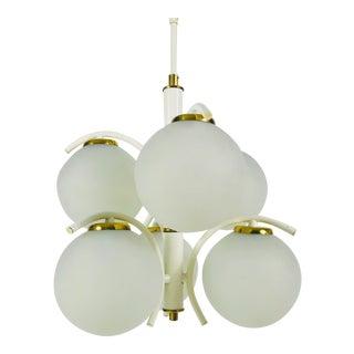 1970s Richard Essig White Opaline Glass Chandelier, Germany For Sale