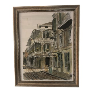 The French Quarter Oil Painting by Paul De La Fille For Sale