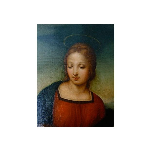 Renaissance Original Antique Old Master Italian Oil Painting Madonna After Raphael 18th C. For Sale - Image 3 of 5
