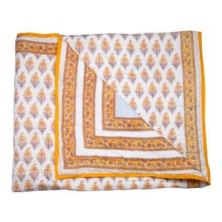 Juhi Reversible Quilt, Queen - Yellow & Periwinkle For Sale