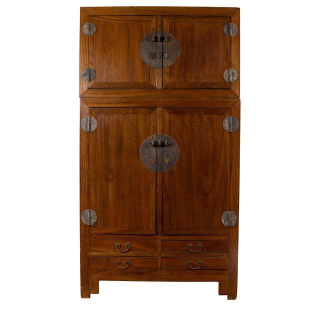 Vintage Chinese Elm Compound Wedding Wardrobe in Two Parts With Metal Hinges For Sale - Image 13 of 13