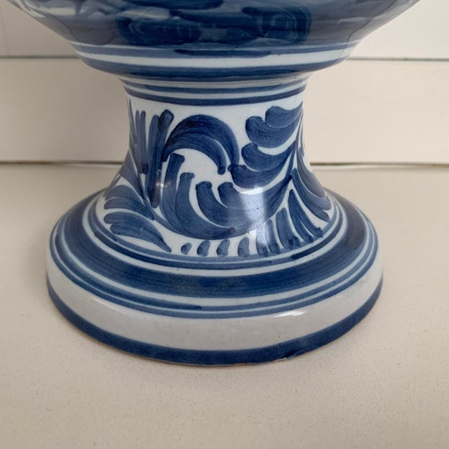 20th Century Glazed Earthenware Spanish Blue and White Painted Urn, Vase For Sale - Image 11 of 13