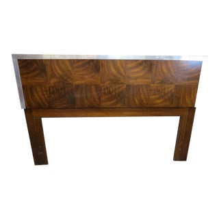 Vintage Mid Century Modern Chrome and Burled Walnut Queen Size Headboard For Sale