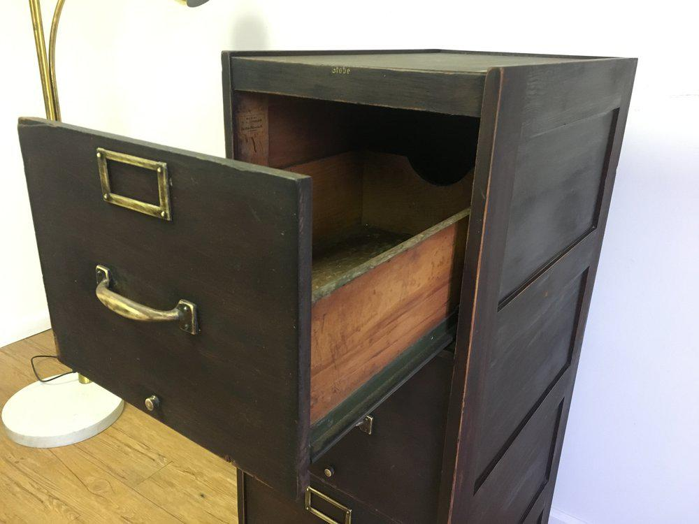 Antique Four Drawer Wooden File Cabinet Chairish