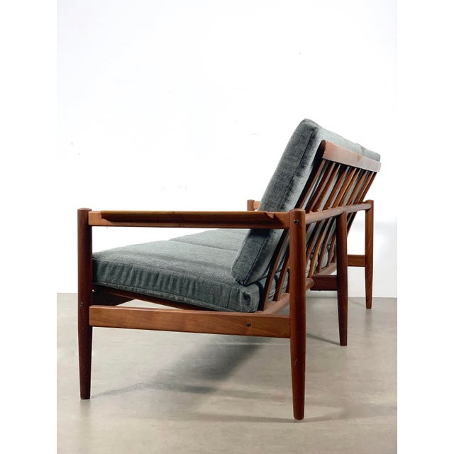Three-seat sofa designed by Børge Jensen and Sønner for Bernstorffsminde Møbelfabrik circa 1950-60's Solid teak frame...