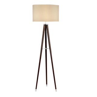 Polished Chrome and Wenge Wood Floor Lamp For Sale