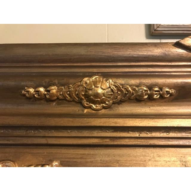 Early 20th Century Antique Ornate Victorian Style Gilt Fireplace Mantel Topper For Sale - Image 5 of 13