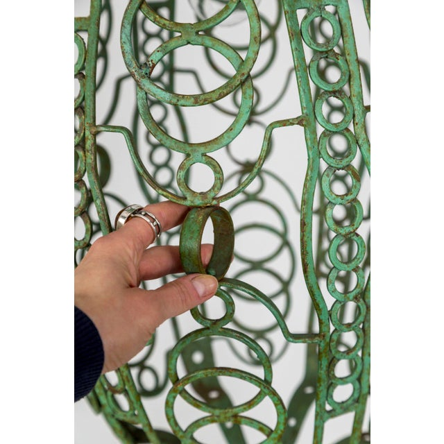 1920's Art Deco Green Oblong Cage Lantern With Circle Motif For Sale - Image 4 of 11