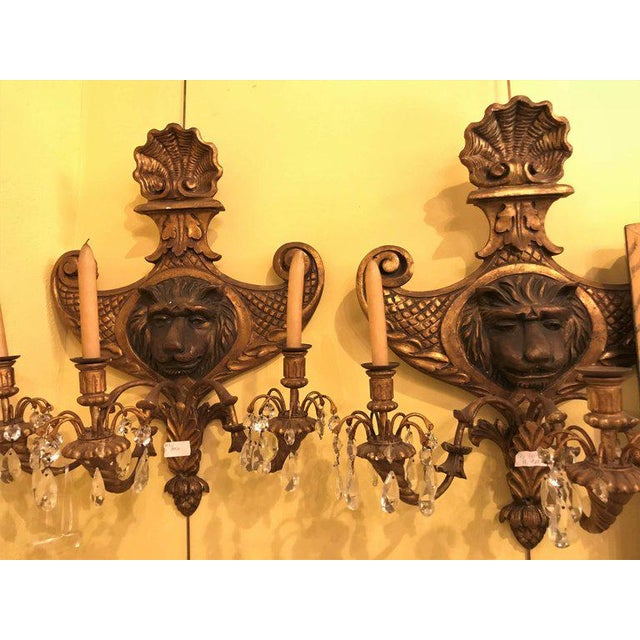 19th Century Carved Lion Head Shell Form Wooden Sconces - a Pair For Sale - Image 9 of 10