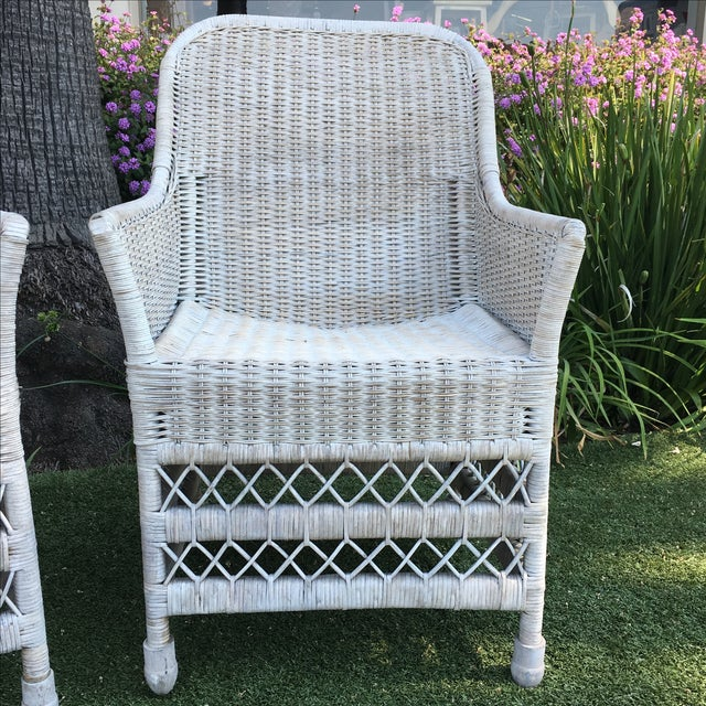 Shabby Chic White Wicker Chairs - a Pair - Image 5 of 7