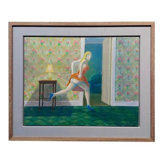 Richard Wilson -Girl Running Seminude in Her New Apartment-Oil Painting For Sale