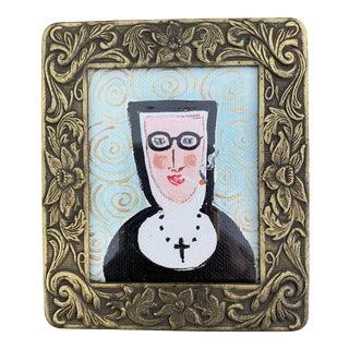"""1990s """"Smoking Nun"""" Folk Art Style Acrylic Painting, Framed For Sale"""
