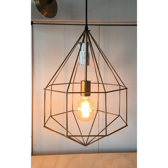 Gold Geometric Cage Pendant Light | Chairish