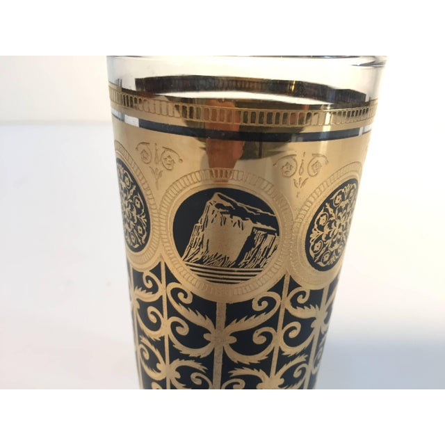 Vintage Eight Highball Black and Gold Glasses in a Brass Cart by Fred Press For Sale - Image 9 of 10