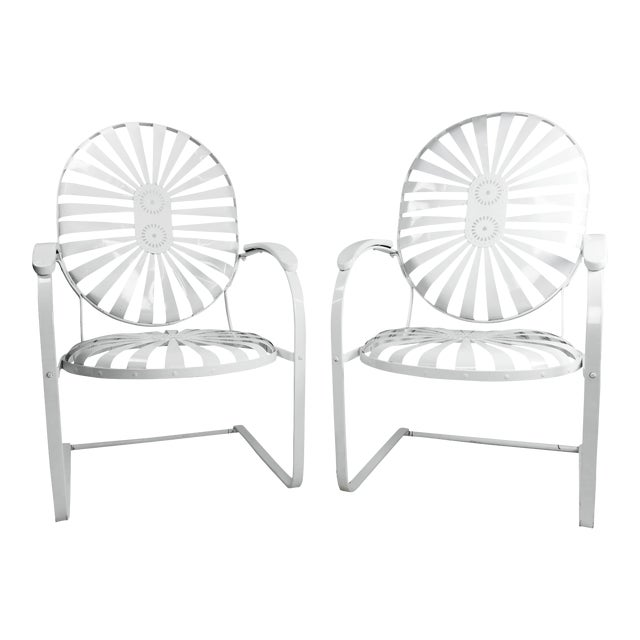 Francois Carre Vintage Sunburst Cantilevered Chairs - A Pair - Image 1 of 11
