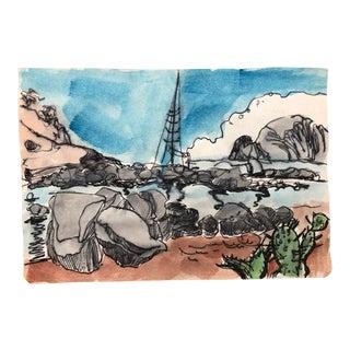 Mediterranean Coastal Scene Watercolor For Sale