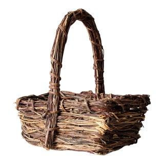 Vintage Rustic Twig Basket For Sale
