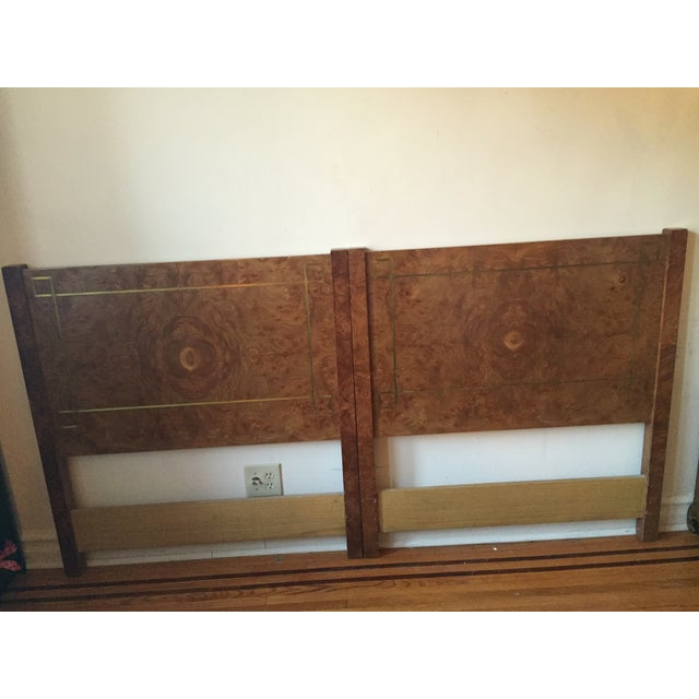 Greek Key Inlay Burl Twin Headboards- A Pair - Image 2 of 12