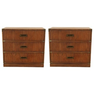 1960s Campaign Walnut Chests - a Pair For Sale