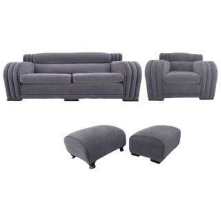French Art Deco Sofa and Club Chair Set - Set of 4