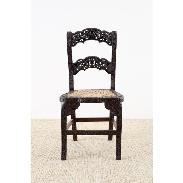 Anglo-Indian Anglo Indian Carved Rosewood Desk Chair For Sale - Image 3 of 13