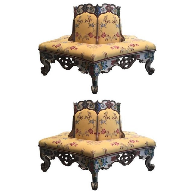 Yellow Exceedingly Rare Pair of Upholstered and Handpainted Sicilian Late 18th Century For Sale - Image 8 of 8