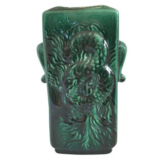 Vintage Awaji Style Glazed Vase Malachite Green For Sale