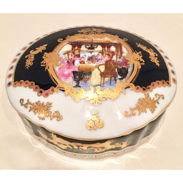 20th C. French Sevres Limoges Style Cobalt & Gold Tray & Box - Image 2 of 11