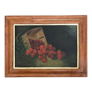 Antique 19th Century American Folk Art Primitive Oil Painting of Strawberries Still Life For Sale