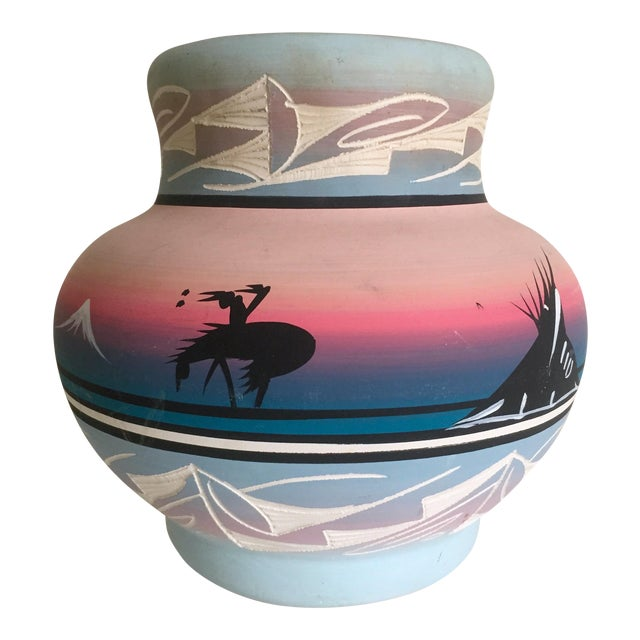 Vintage Signed Navajo Native American Pink Mesa Sunset Hand Painted Pottery Vase For Sale