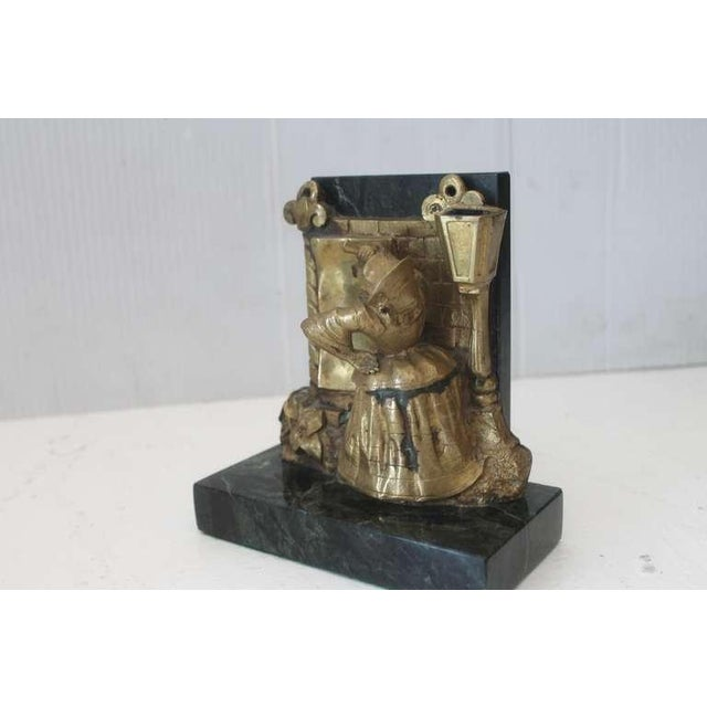 Metal Pair of Bronze Monkey and Green Marble Bookends For Sale - Image 7 of 11