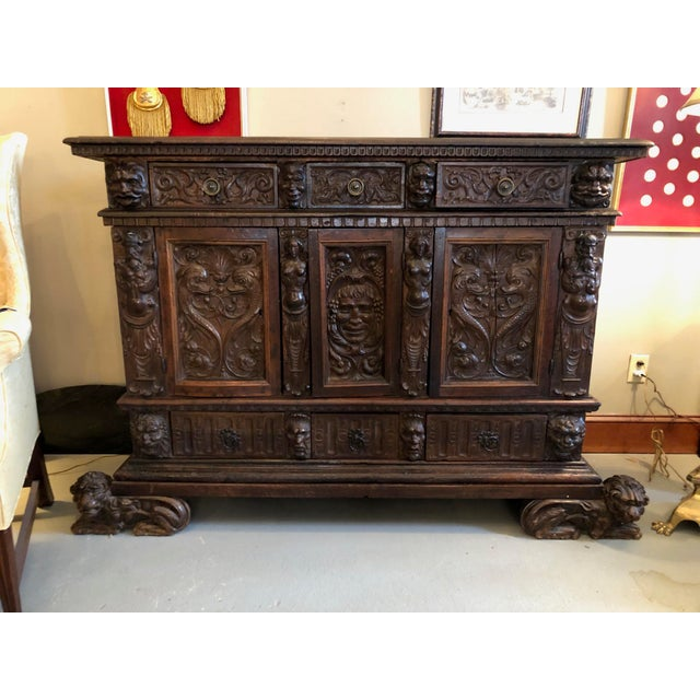 19th Century Renaissance Revival Hand Carved Cabinet For Sale - Image 13 of 13