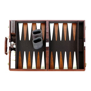 Vintage Backgammon Set in Leatherette Travel Case For Sale