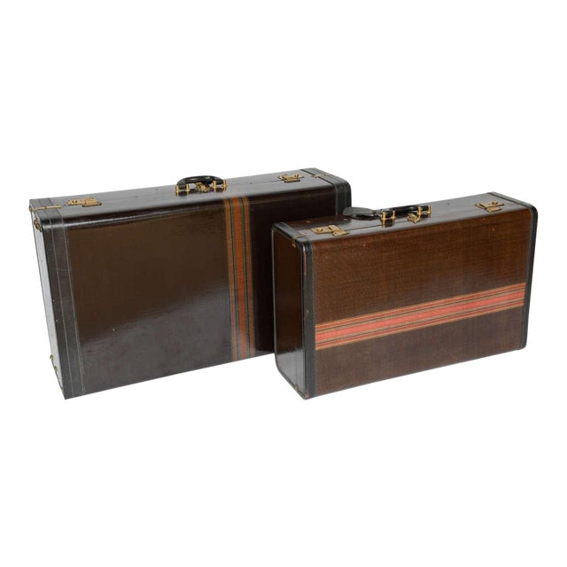 Gorgeous Pair of Vintage Italian Suitcases For Sale
