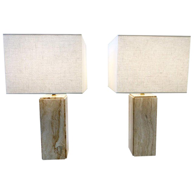 Italian Travertine and Brass Table Lamps - a Pair For Sale