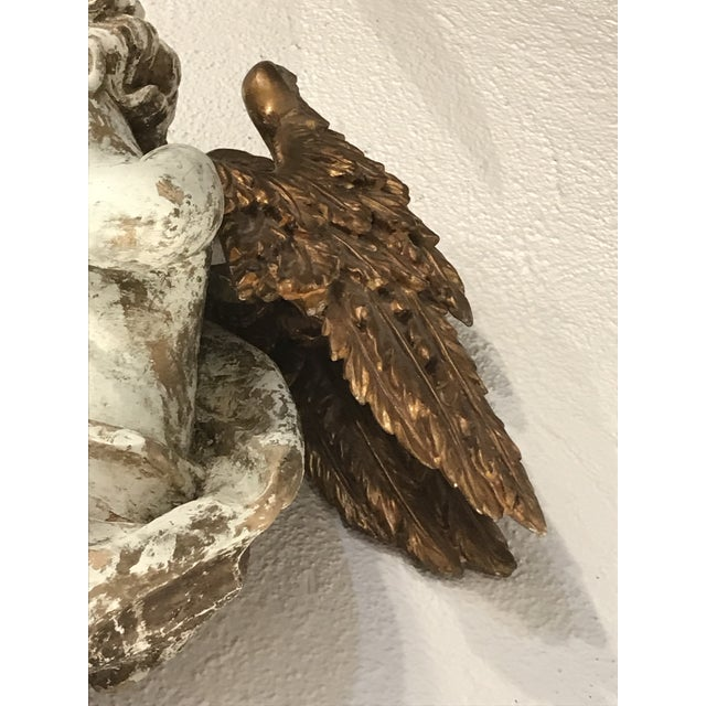 Antique White Early 18th Century Wood Carved and Gilded Wood Winged Angels, Spanish Colonial - a Pair For Sale - Image 8 of 10