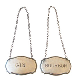 Silver Liquor Decanter Tags, A Pair