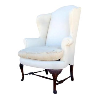 Queen Anne Style Wingback Chair For Sale