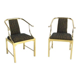 Mastercraft Mid-Century Modern Brass Barrel Back Chairs - a Pair For Sale
