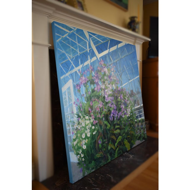 """""""Meet Me at the Greenhouse"""". Large (48"""" X 48"""") Contemporary Painting by Stephen Remick For Sale - Image 10 of 13"""
