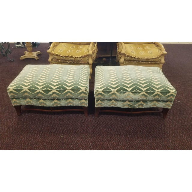 Green Classic Donghia Victoire Ottomans - a Pair For Sale - Image 8 of 13