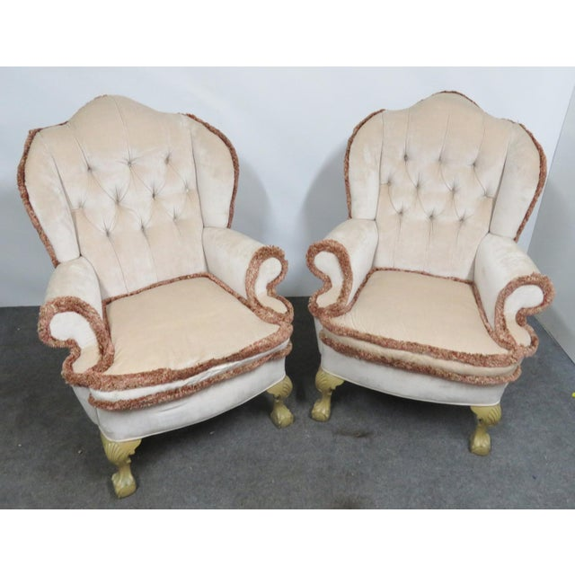 Chippendale Style Tufted Wing Chairs- a Pair For Sale - Image 4 of 6