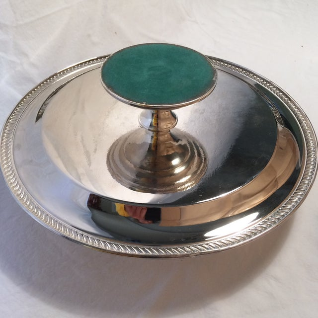 Vintage Unsigned Silver Plated Revolving Cake Tray For Sale In Sacramento - Image 6 of 11