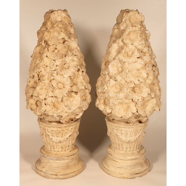 1970s Ceramic Floral Mantle Topiaries or Garden Statues - a Pair For Sale - Image 4 of 13