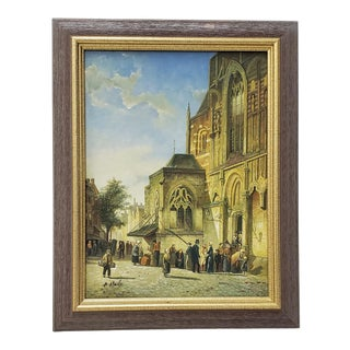"""Vintage Impressionist Painting """"Sunday Morning"""" by Hale 20th Century For Sale"""